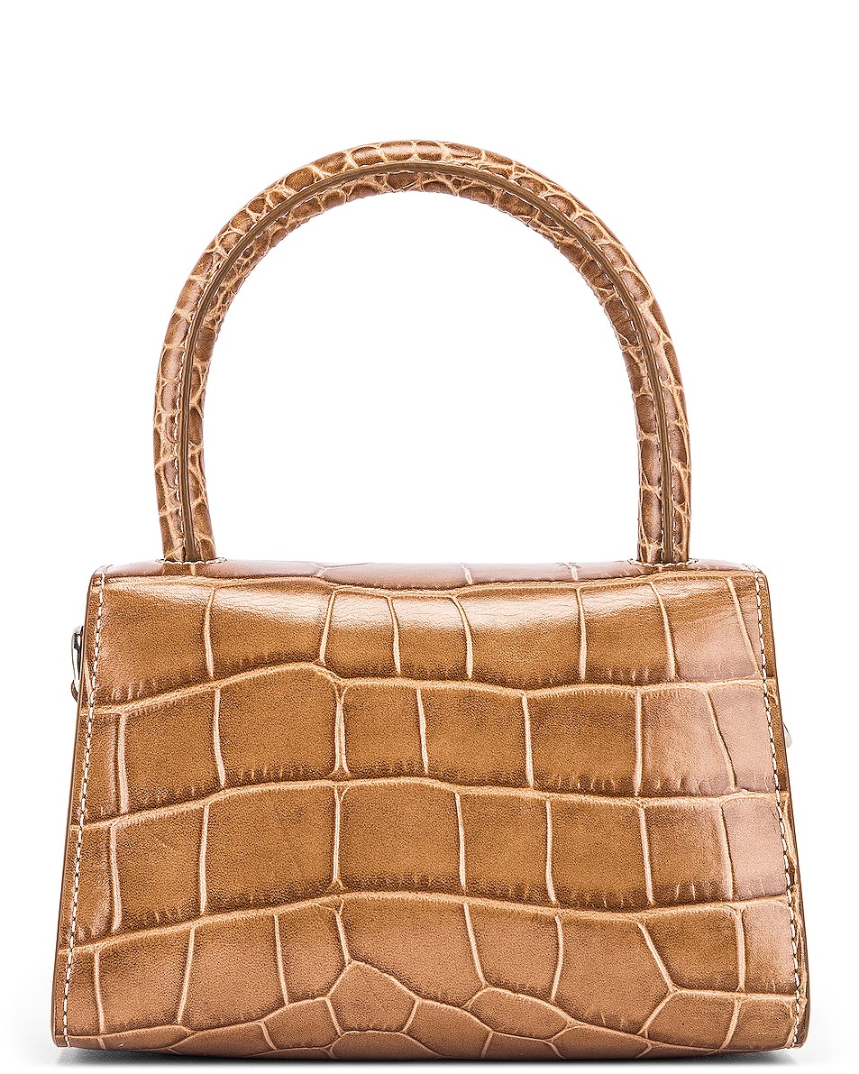 Image 3 of BY FAR Mini Croco Embossed Leather Bag in Taupe