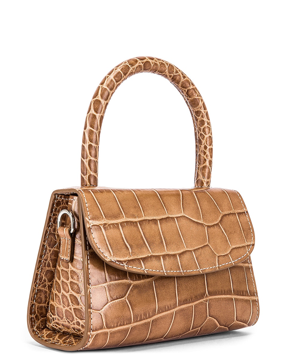 Image 4 of BY FAR Mini Croco Embossed Leather Bag in Taupe