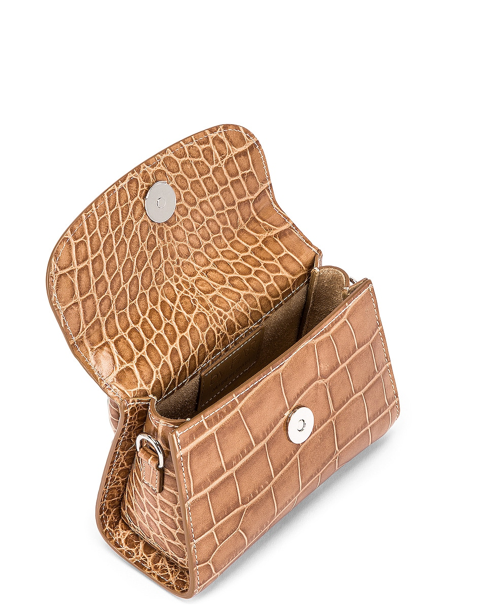 Image 5 of BY FAR Mini Croco Embossed Leather Bag in Taupe