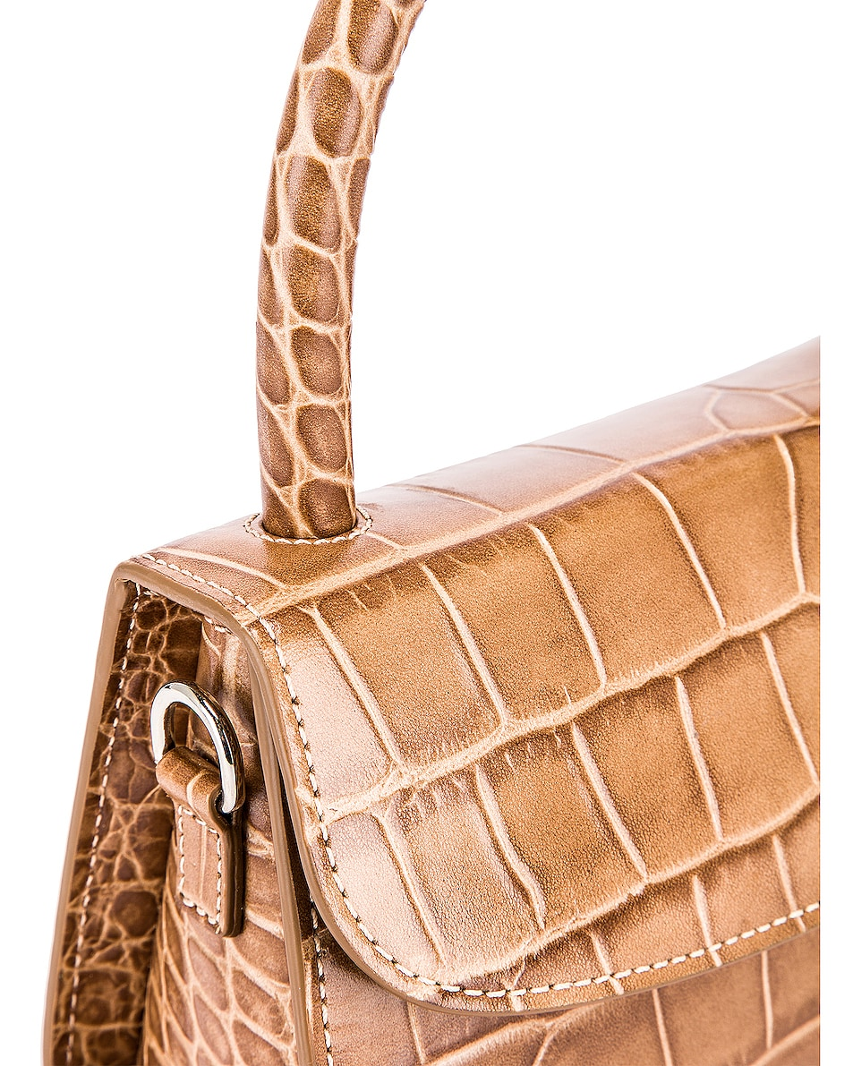 Image 8 of BY FAR Mini Croco Embossed Leather Bag in Taupe