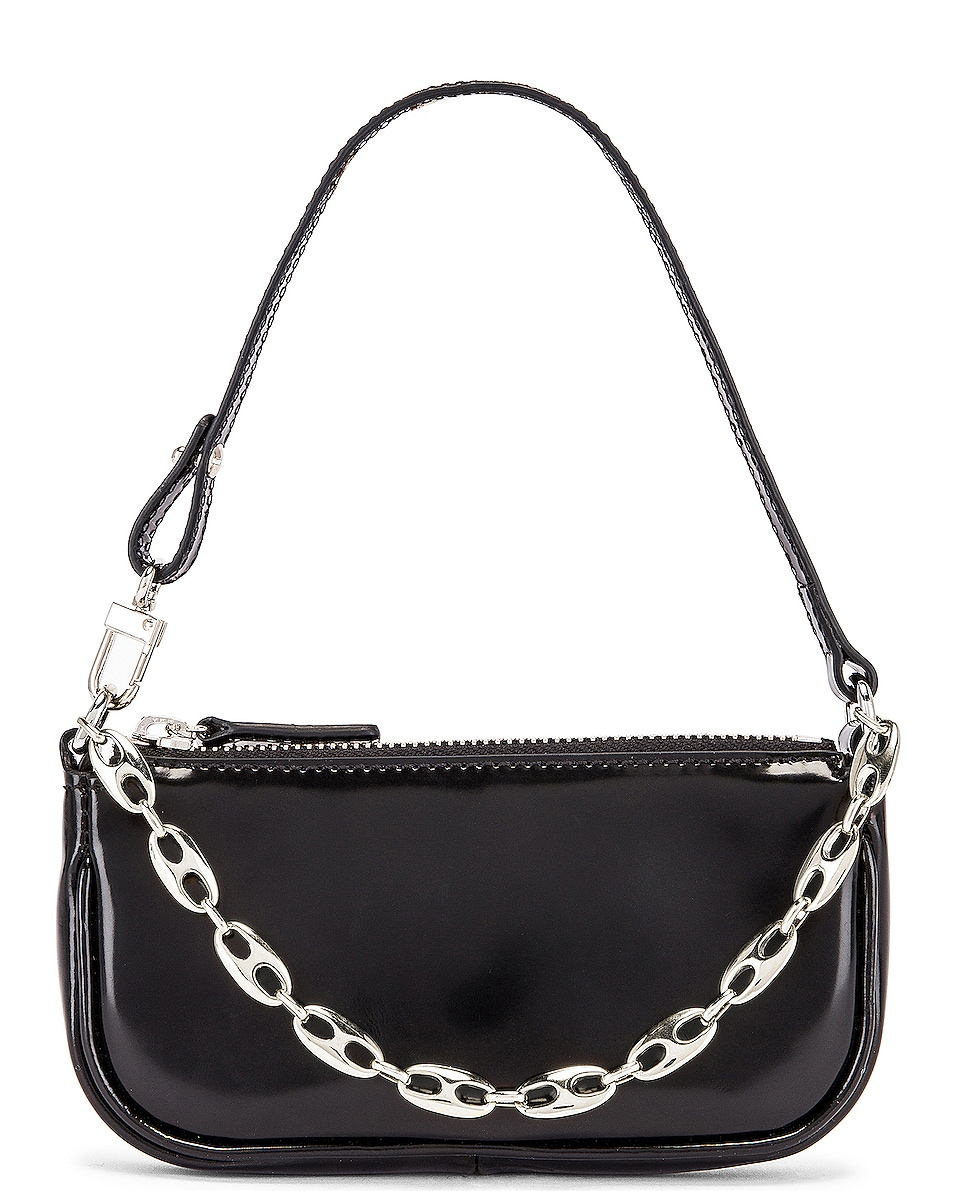 Image 1 of BY FAR Mini Rachel Semi Patent Leather Bag in Black