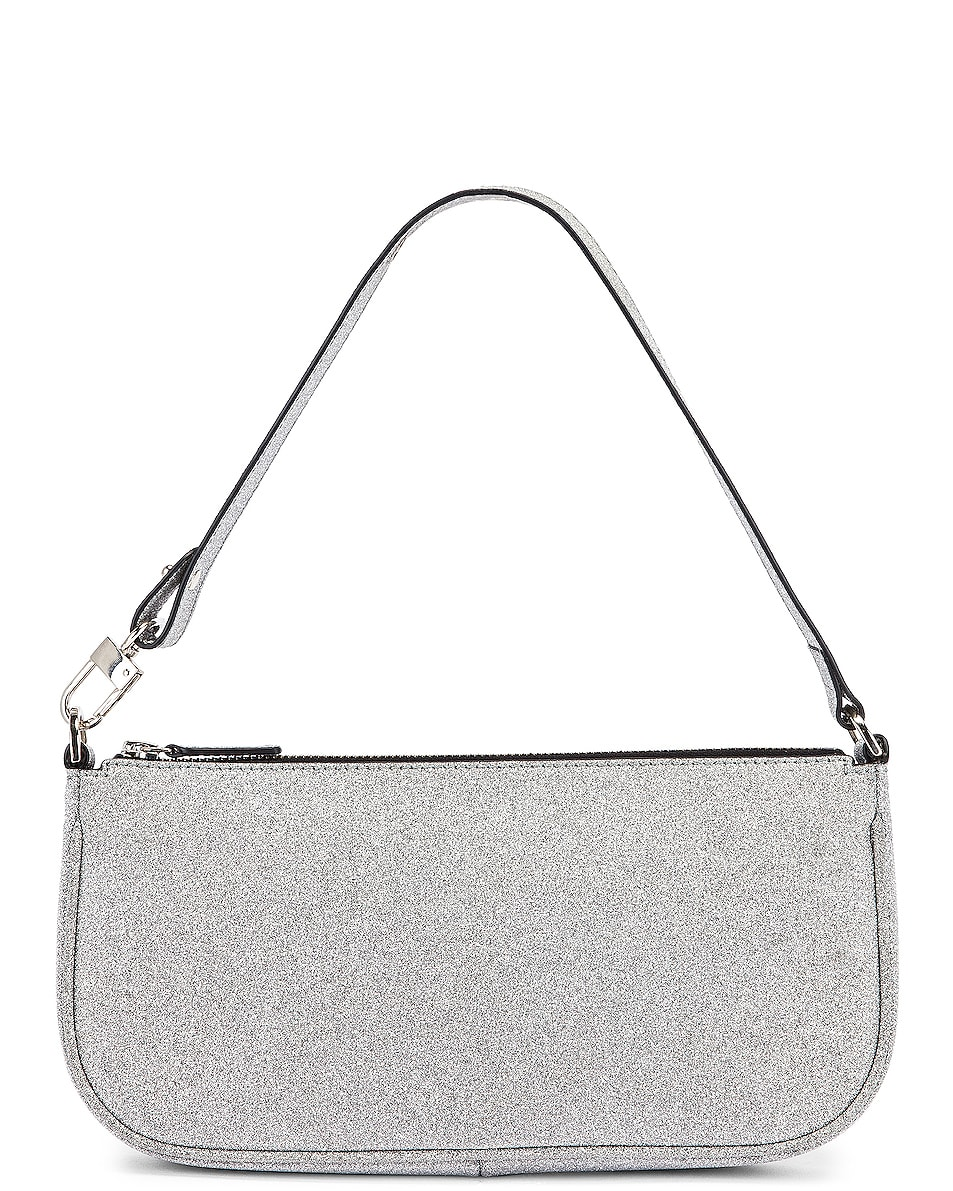 Image 1 of BY FAR Rachel Glitter Leather Bag in Silver