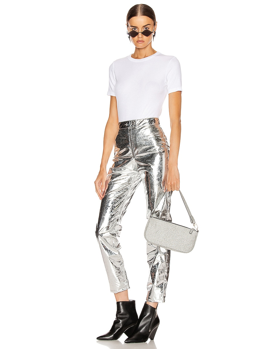 Image 2 of BY FAR Rachel Glitter Leather Bag in Silver