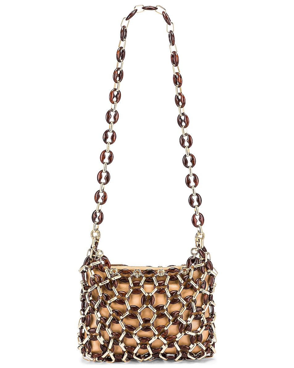 Image 6 of BY FAR Capria Leather Bag in Nude & Dark Wood