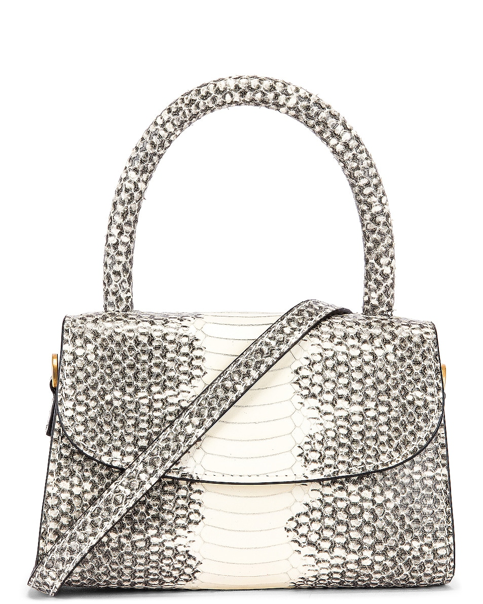 Image 1 of BY FAR Mini Snake Print Leather Bag in Graphic
