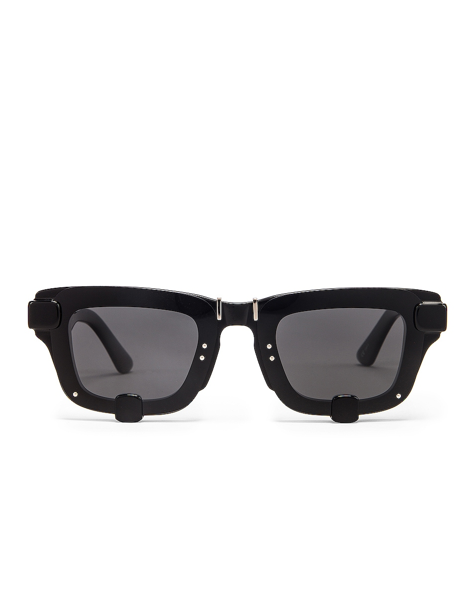 Image 1 of Y/Project Pronged Rectangle Sunglasses in Black & Silver