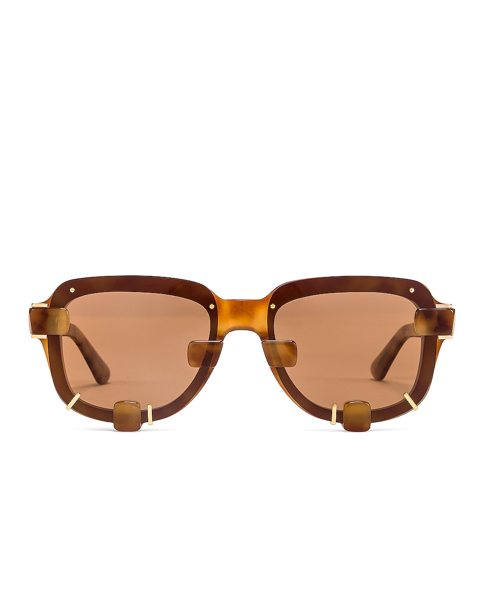 Image 1 of Y/Project Pronged Sunglasses in Tortoise & Gold