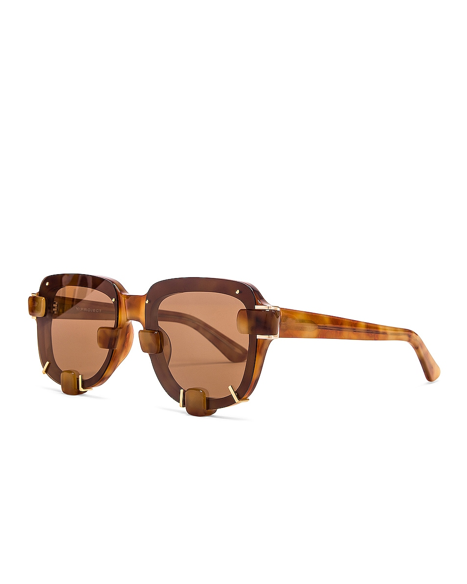 Image 2 of Y/Project Pronged Sunglasses in Tortoise & Gold