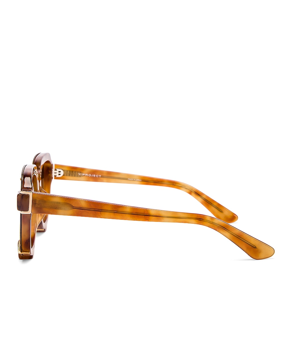 Image 3 of Y/Project Pronged Sunglasses in Tortoise & Gold