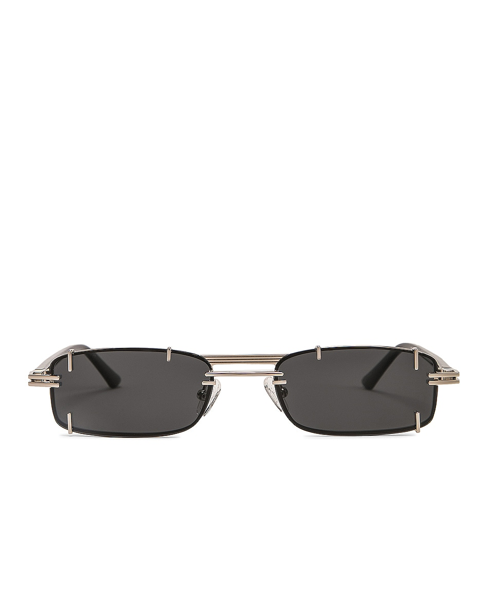 Image 1 of Y/Project Pronged Rectangular Sunglasses in Black, White Gold & Solid Grey