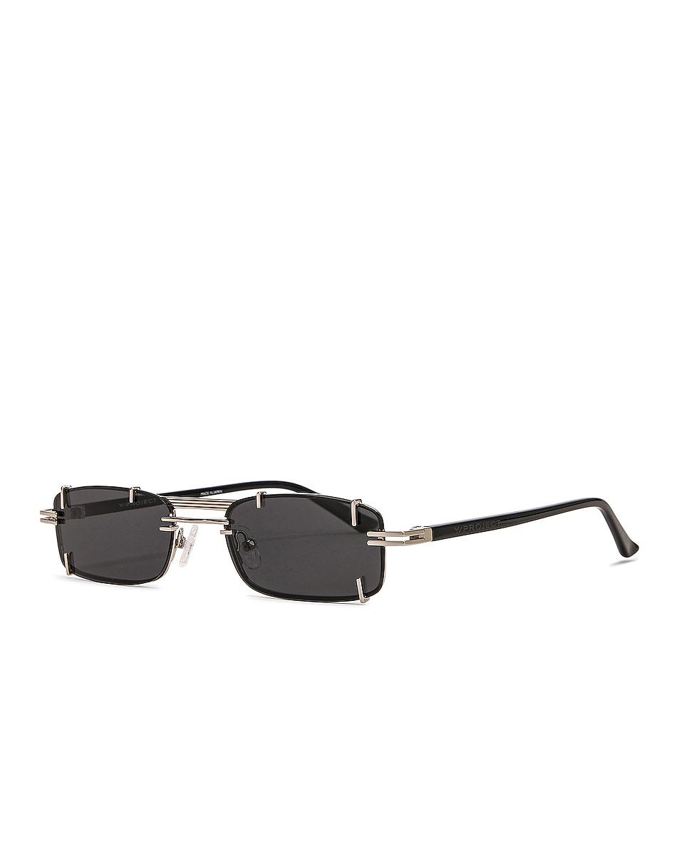 Image 2 of Y/Project Pronged Rectangular Sunglasses in Black, White Gold & Solid Grey
