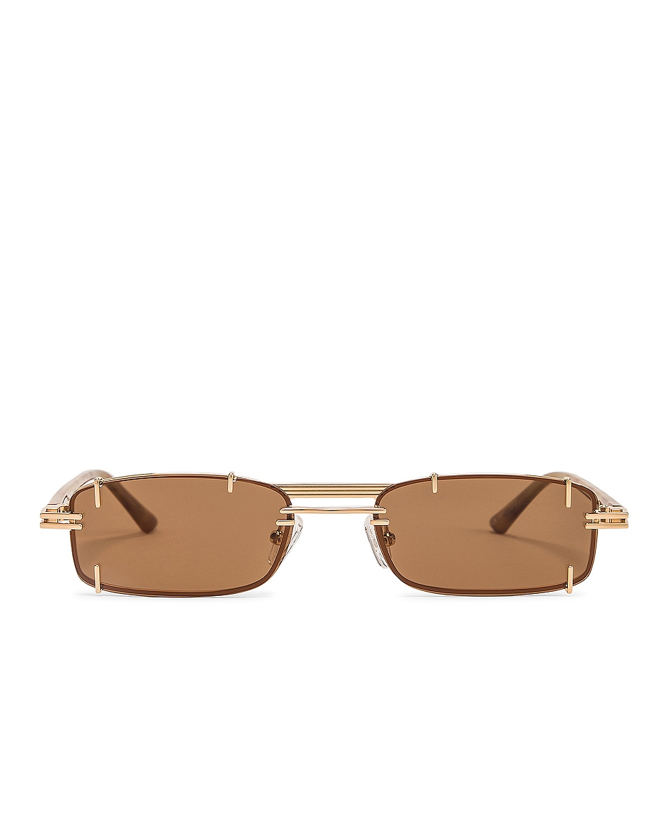Image 1 of Y/Project Pronged Rectangular Sunglasses in Tortoise Shell, Light Gold & Solid Brown