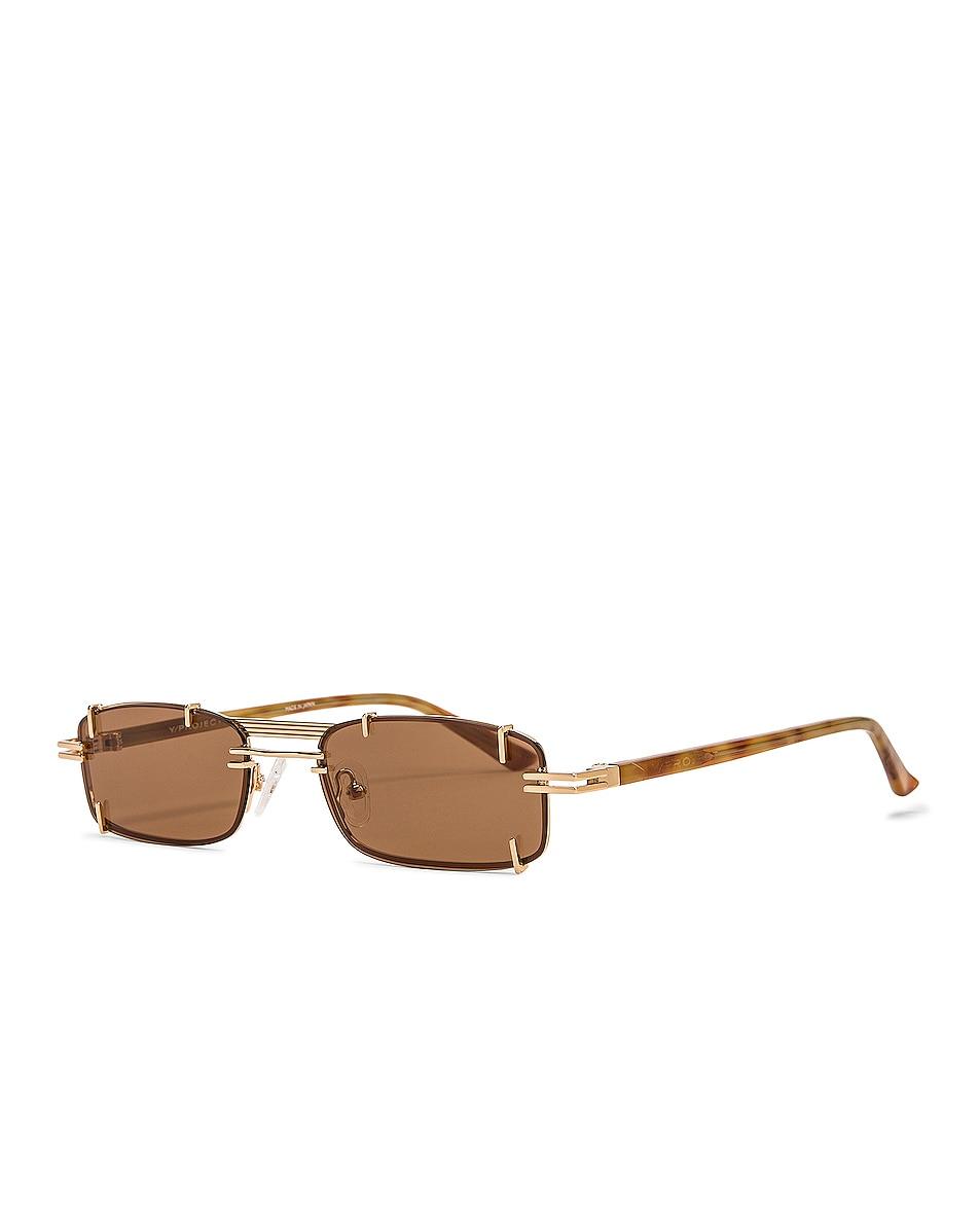 Image 2 of Y/Project Pronged Rectangular Sunglasses in Tortoise Shell, Light Gold & Solid Brown