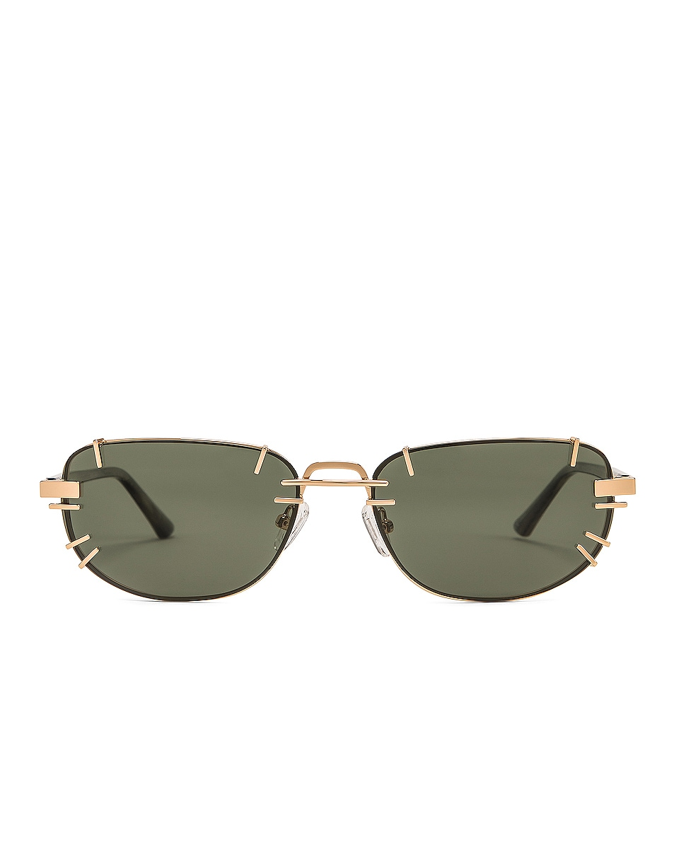 Image 1 of Y/Project Pronged Sunglasses in Horn, Light Gold & Olive Green