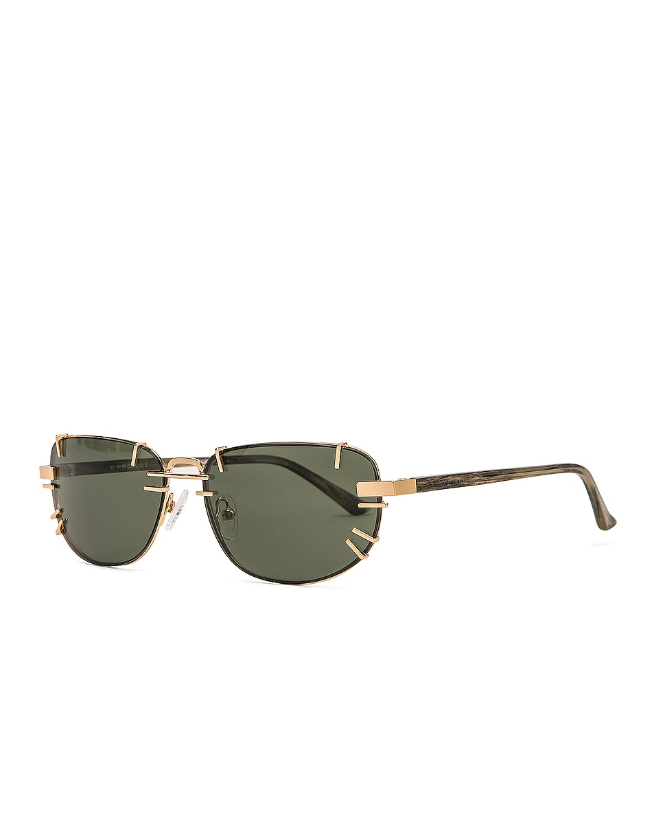 Image 2 of Y/Project Pronged Sunglasses in Horn, Light Gold & Olive Green