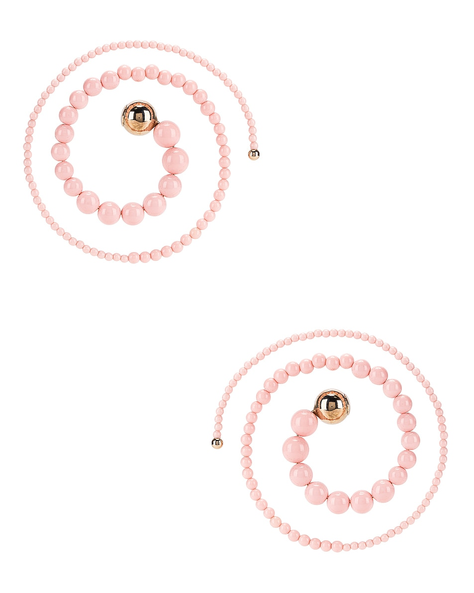 Image 1 of Y/Project Spiral Bead Earrings in Pink