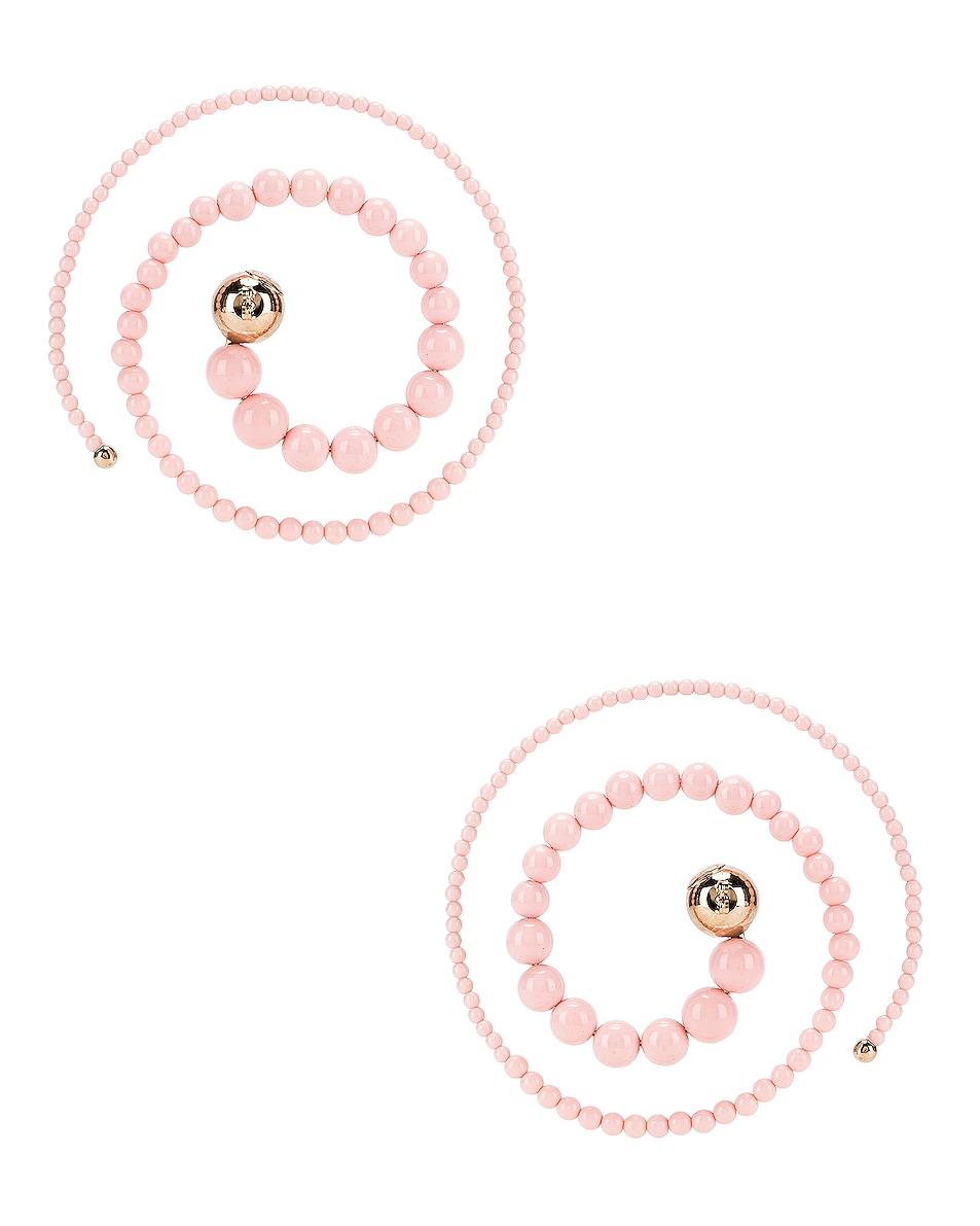 Image 3 of Y/Project Spiral Bead Earrings in Pink