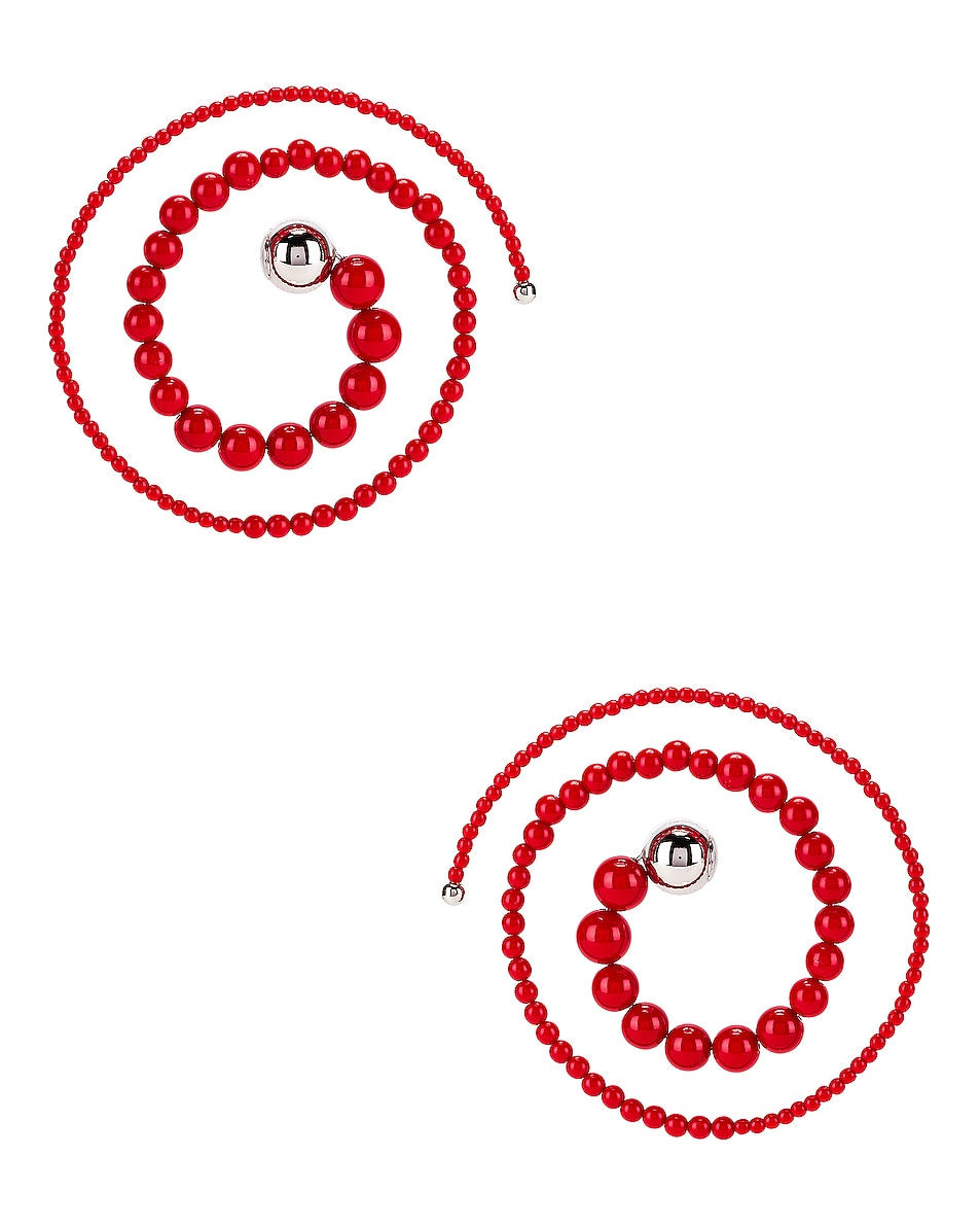 Image 1 of Y/Project Spiral Bead Earrings in Red
