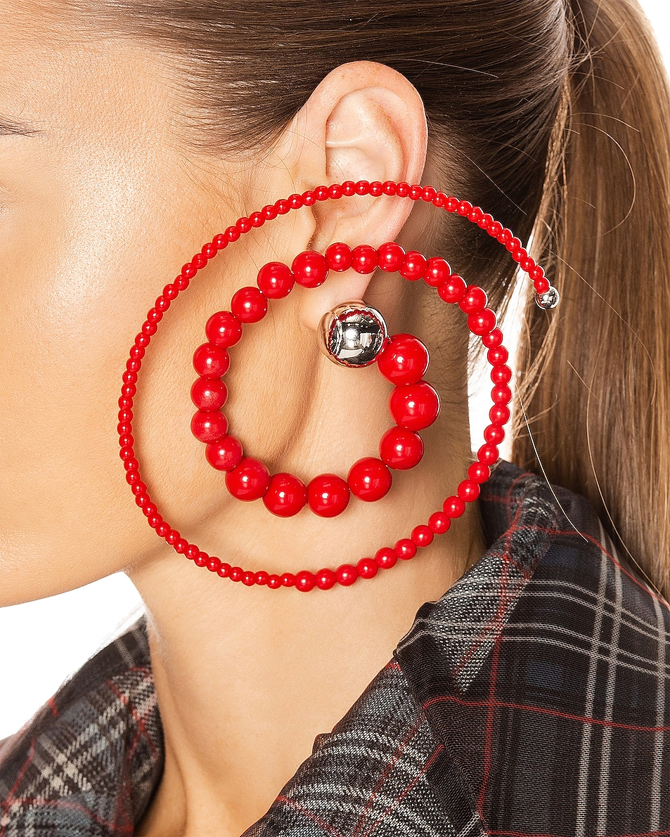 Image 2 of Y/Project Spiral Bead Earrings in Red