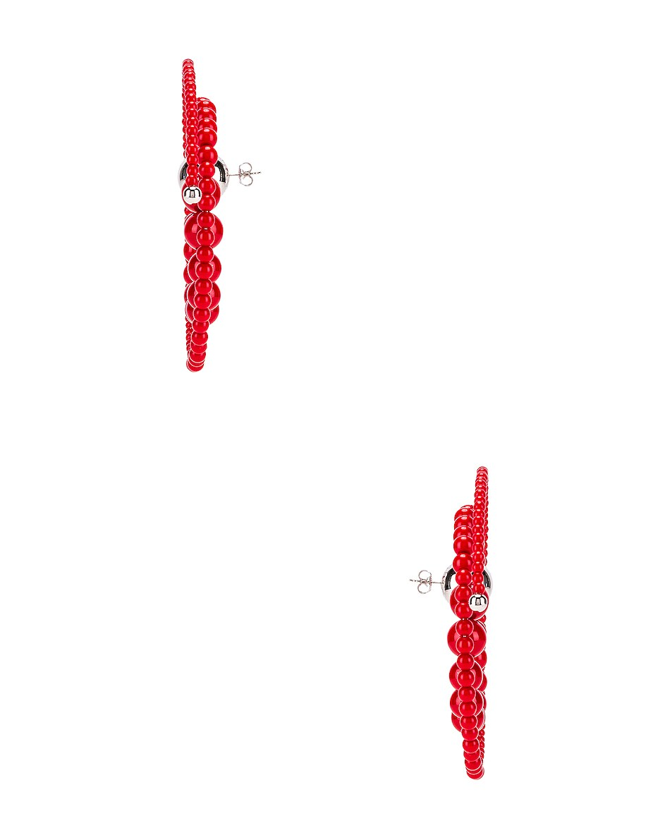 Image 3 of Y/Project Spiral Bead Earrings in Red