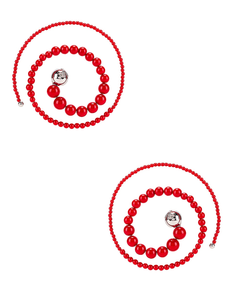 Image 4 of Y/Project Spiral Bead Earrings in Red