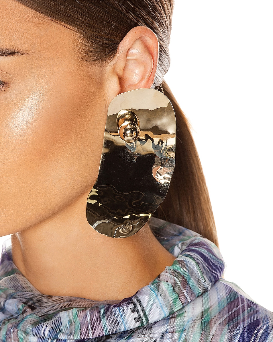 Image 2 of Y/Project Small Oyster Earrings in Gold