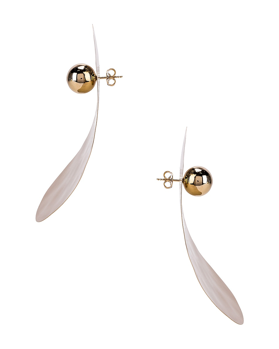 Image 3 of Y/Project Small Oyster Earrings in Gold