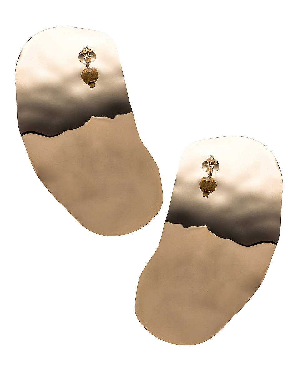 Image 4 of Y/Project Small Oyster Earrings in Gold