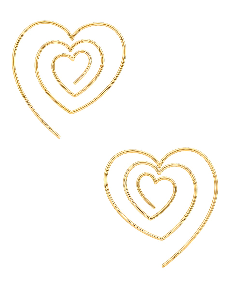 Image 1 of Y/Project Heart Hoop Upside Down Earrings in Gold