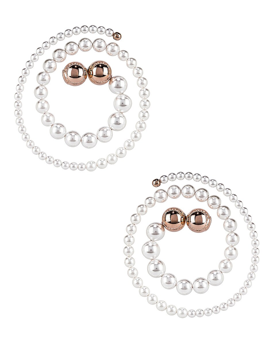 Image 1 of Y/Project Pearl Spiral Earrings in White