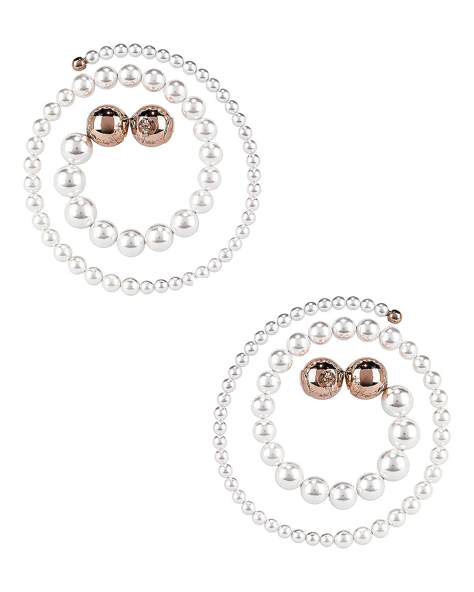 Image 3 of Y/Project Pearl Spiral Earrings in White