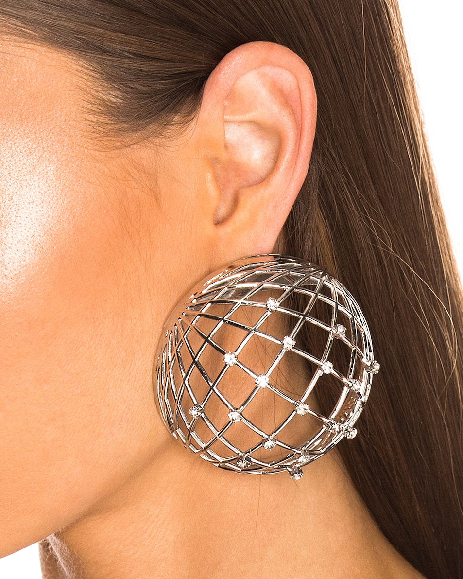 Image 2 of Y/Project Globe Earrings in Silver