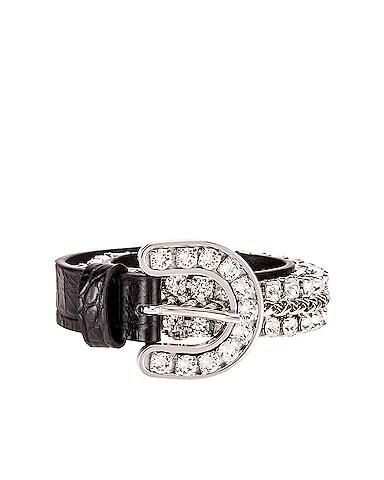 Leather & Crystal Cowboy Belt