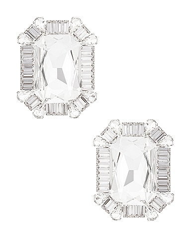 Square Crystal Clip Earrings