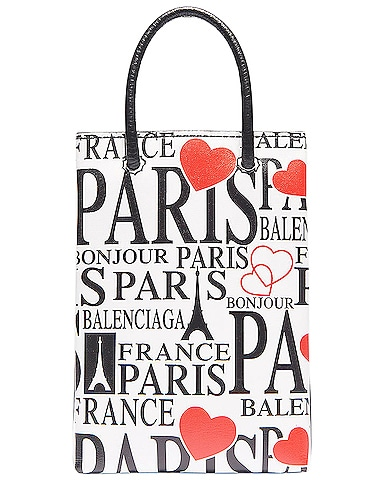 Paris Bonjour Shopping Phone on Strap Bag