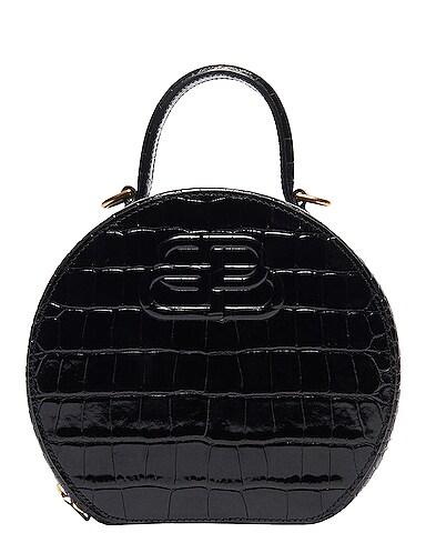 XS Embossed Croc Vanity Round Bag