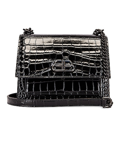 Small Embossed Croc Sharp Chain Bag
