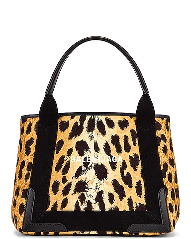 Small Leopard Navy Cabas Bag