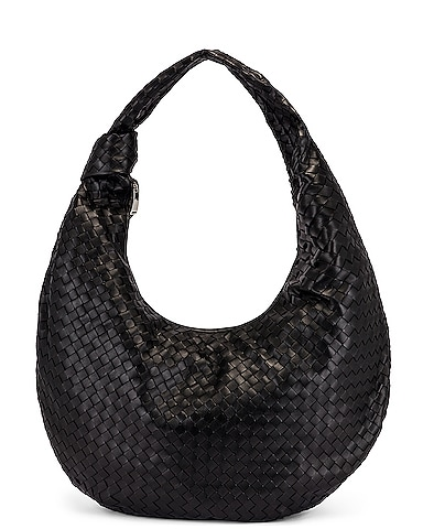 Maxi Woven Shoulder Hobo Bag