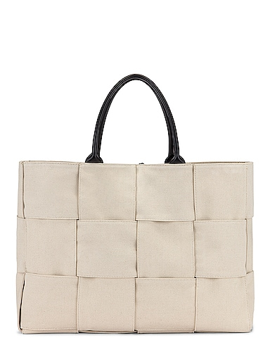 Large Woven Canvas & Leather Tote
