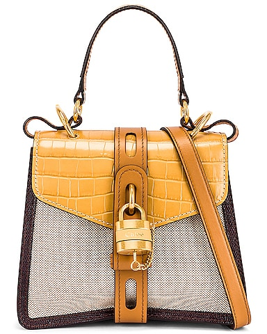 Small Aby Embossed Croc and Canvas Shoulder Bag