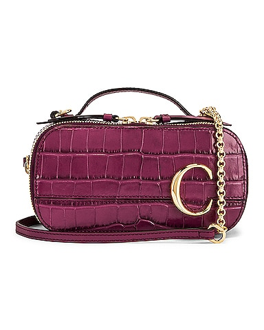 Mini Chloe C Embossed Croc Vanity Bag