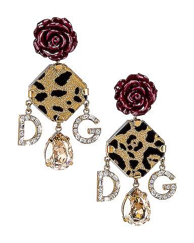 Leo & Roses Crystal Logo Earrings