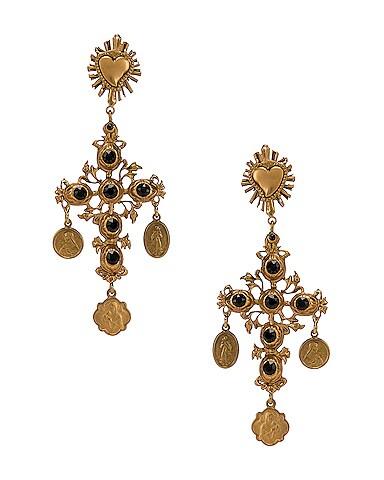 Black Crystal Cross Drop Earrings