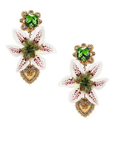 Crystal Lily Embellished DG Heart Earrings
