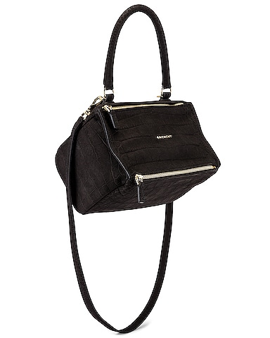Small Pandora Embossed Croc Bag