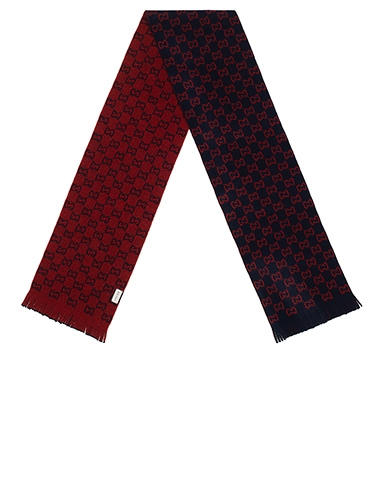 GG Wool Scarf In Midnight Blue & Red
