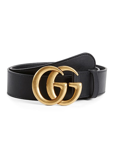 Leather Belt With Double G Buckle In Nero