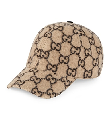 GG Wool Baseball Hat In Beige & Black