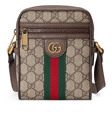 Ophidia GG Shoulder Bag In Beige Ebony & Green & Red